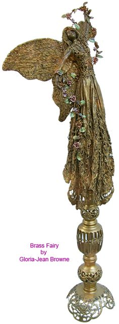 brass colored fairy sculpture. Just an idea here. Create any art subject and then spray paint it bronze, gold, etc. you can even add additional dimension by hand painting some details.