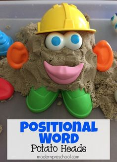 Word study - Practice positional words with potato heads! Learning with kinetic sand Preposition Activities, Language Activities, Sensory Activities, Cognitive Activities, Sensory Play, Kindergarten Activities, Preschool Activities, Positional Words Kindergarten, Nature Activities