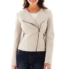 Coffee Shop Faux Leather Quilted Jacket - jcpenney