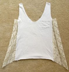 Discover thousands of images about Chic T-shirt Refashion Ideas with DIY Tutorials-DIY Lace Front/Bottom T-shirt Refashion Tutorial Shirt Refashion, T Shirt Diy, Refashioned Tshirt, Clothes Refashion, Tank Shirt, Shirt Men, Diy Clothing, Sewing Clothes, Upcycled Clothing Thrift Store