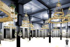 Decorative Lighting for Mosques by KNY Design Austria www.kny-design.com Light Decorations, Chandelier, Decorative Lighting, Ceiling Lights, Mosques, Austria, Chicken Recipes, Design, Home Decor