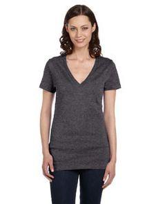 Bella + Canvas Ladies' Made in the USA Jersey Short-Sleeve Deep V-Neck T-Shirt 6035U DK GREY HEATHER