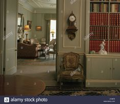 Clarence House, London. Home of HRH The Queen Mother from 1953 - 2002. View through door of the Library Room. Stock Photo