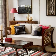 Aztec-inspired living room decor. Select a theme to showcase your personal style.