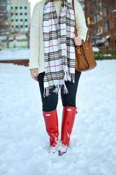Some of my favorite snow day outfit ideas after Snowstorm Jonas in Hunter Outfit, Hunter Boots, Snow Day Outfit, Outfit Of The Day, Cherries In The Snow, Ray Ban Original, Revlon Super Lustrous Lipstick, Lululemon Headbands, Fair Games