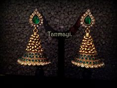 Royal Earrings Collection from Tanmayi Handmade Jewellery India Jewelry, Temple Jewellery, Jewelery, Silver Jewelry, Gold Jhumka Earrings, Gold Earrings Designs, Jewelry Patterns, Beautiful Earrings, Antique Jewelry