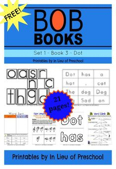 FREE BOB Books Printables for Beginning Readers: Set 1, Book 3 Dot + links to free printables from 5 other collaborators!!