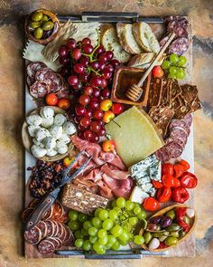 This Cheese And Charcuterie Platter recipe is featured in the Cheese Boards feed along with many more. Charcuterie Recipes, Charcuterie Platter, Charcuterie And Cheese Board, Antipasto Platter, Cheese Boards, Party Food Platters, Cheese Platters, Best Cheese, Meat And Cheese