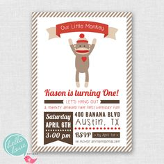 Sock Monkey Printable Birthday Invitation {hello love designs via Etsy}