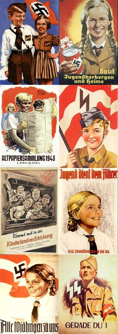 Nazi posters promoting the Jugen Dienst - Hitler youth. wow. scary smiling children.