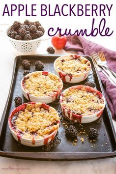 This Apple Blackberry Crumble is the perfect single-serving dessert made with fresh blackberries and apples and a sweet crumble topping.Recipe from thebusybaker.ca! #apple #blackberry #crumble #crisp #fruit #dessert #fruitcrumble #summer #sweet #homemade Fall Dessert Recipes, Easy No Bake Desserts, Homemade Desserts, Fruit Recipes, Fun Desserts, Delicious Desserts, Homemade Snickers, Cheesecake Desserts, Pastry And Bakery