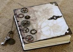 Steampunk Journal Mixed Media Art Journal or Diary with Gears Keys and Book Corners on Etsy, Sold Altered Books, Altered Art, Watercolor Inspiration, Steampunk Design, Steampunk Crafts, Creative Journal, Scrapbooking, Journal Covers, Book Binding