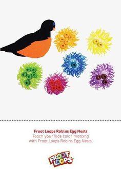 Froot Loops Robins Egg Nests – Deja que tu hijo practique la identificación de colores colocando los huevos de Froot Loops en el nido correspondiente del mismo color.