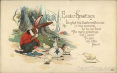 Easter Greetings, I'm Glad this Easter Rabbits ear is Long and Wide so he can Hear With Bunnies