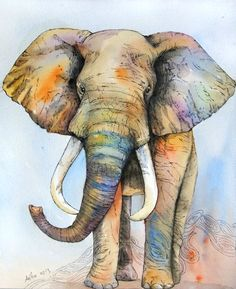 18) The representational piece of an elephant shows the elephant as the artist sees it; colorful and full of life. Line is shown in its trunk, which is diagonal and in motion. Color is shown all over the elephant, to represent feeling in a typically gray animal. The elephant is an actual shape in the positive space of the image.