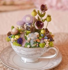SALE Montclair Fine China Teacup with Needle Felted Miniature Garden, Collectible, OOAK, Handmade by thefeltedcottage on Etsy https://www.etsy.com/listing/186413680/sale-montclair-fine-china-teacup-with
