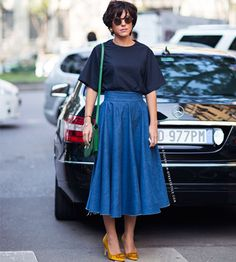 59 Trendy ideas for skirt midi denim street styles I Love Fashion, Modest Fashion, Skirt Fashion, Fashion Looks, Fashion Outfits, Style Fashion, Modest Outfits, Skirt Outfits, Dress Skirt