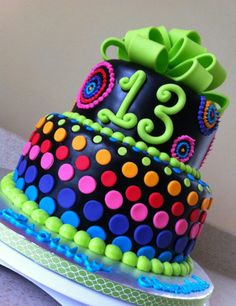 This would be a great cake for a black light birthday party
