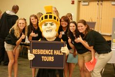 Spartacus helped the Student Orientation Leaders show incoming Spartans around the Manchester University campus
