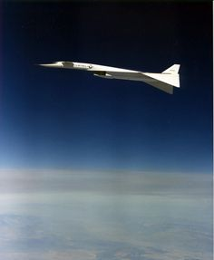fabforgottennobility:  North American XB-70A Valkyrie in flight with wings drooped to 65 percent position. (U.S. Air Force photo)