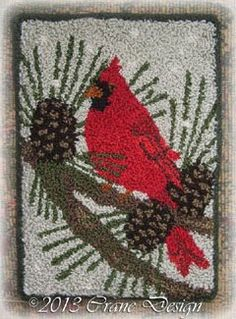"Crane Design by Jan Mott Wool Applique Penny Rug & Punchneedle Patterns: Wool Applique Gift or Ditty Bags featuring ""Tweets 4 You"" Sweet Song Birds"