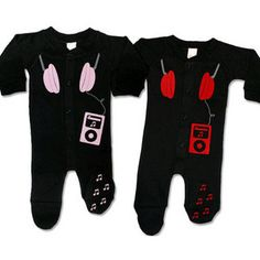 Rock And Roll Baby Gifts - Psychobaby Boppin' 2 the Beatz Headphone Footed Romper