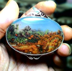 Landscape moss agate. Not sure if this is natural or not.