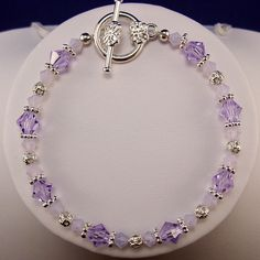 Swarovski Crystal Bracelet in Lavender Violet with Silver Accents. $18.00, via Etsy.