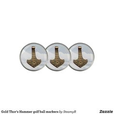 Gold Thor's Hammer golf ball markers Thors Hammer, Golf Accessories, Golf Ball, Golf Clubs, Markers, Prints, Gold, Sharpies, Sharpie Markers
