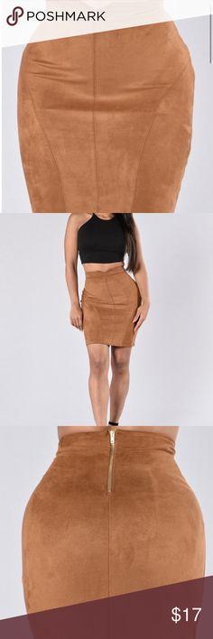 Faux suede skirt Cute mocha/beige faux suede skirt. It's a large but fits like a medium Fashion Nova Skirts Mini