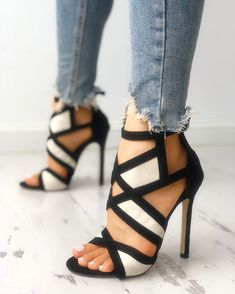 Contrast Color Caged Bandage Heeled Sandals : Shop Contrast Color Caged Bandage Heeled Sandals right now, get great deals at cbrstyle. Shop Contrast Color Caged Bandage Heeled Sandals right now, get great deals at cbrstyle. Cute Shoes, Women's Shoes, Me Too Shoes, Shoe Boots, Strappy Shoes, Golf Shoes, Crazy Shoes, Dress Shoes, Zapatos Shoes