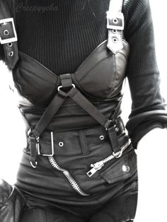 black leather overbust corset shoulder straps zippers ribbed shirt