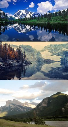 Mountains, Lake and Sky