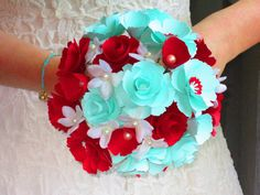 Bridal or Bridesmaid bouquet wedding with paper roses red and tiffany blue. $60.00, via Etsy.