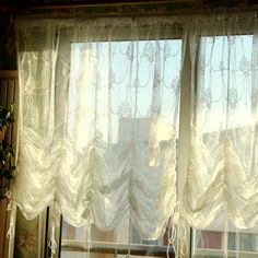 french country lace austrian balloon shade sheer voile cafe kitchen
