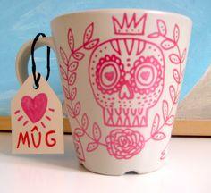 Hand -painted Mug. OOAK. Custom orders.. $13.00, via Etsy.