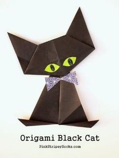 Origami Black Cat | Pink Stripey Socks by MyLittleCornerOfTheWorld