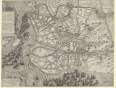 Floris Balthasarsz. van Berckenrode | Tocht van het leger van Maurits naar Oostende (linkerblad), 1600, Floris Balthasarsz. van Berckenrode, 1600 - 1601 | Tocht van het Staatse leger onder prins Maurits naar Oostende, 19-27 juni 1600. Linkerhelft van twee bladen. De Staatse vloot bij Philippine, rechts trekt het leger op door Vlaanderen, onderaan Sluis. Linksboven een cartouche met een vers in het Latijn, linksonder de opdracht in het Latijn.