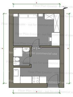 Little House Plans, Small House Floor Plans, Micro Apartment, Tiny Apartments, Casa Bunker, Floor Plan Creator, Studio Floor Plans, Tiny Loft, Studio Apartment Layout