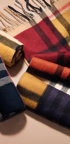 Check cashmere scarves for little ones in rich seasonal colours - a gift for Lunar New Year