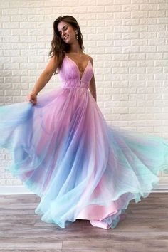 Buy Chic Ombre Spaghetti Straps V Neck Beaded Graduation Gowns, Long Prom Dresses on sale.Shop prom or formal dresses from Promdress. Find all of the latest styles and brands in Junior's prom and formal dresses at PromDress. Ombre Prom Dresses, Prom Outfits, A Line Prom Dresses, Beautiful Prom Dresses, Elegant Dresses, Pretty Dresses, Homecoming Dresses, Evening Dresses, Sexy Dresses
