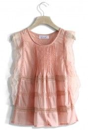 Frill and Crochet Trimmed Top in Pink