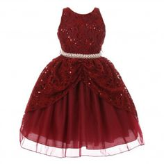 Chic Baby Little Girls Burgundy Lace Sequins Pearl Christmas Dress 4-6