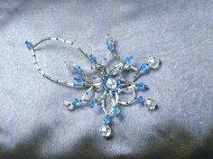 Ice Blue, Silver and Crystal Ornament/Suncatcher by TriannasTreasures