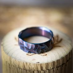 Titanium Wedding Ring, Fire-Treated Ring, Fire Treated Wedding Band, Handmade Rings For Men, Handcrafted By Staghead Designs #weddingring