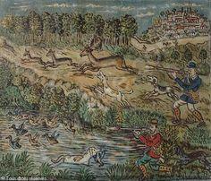 Hunting Scene -by Theofilos Greek Paintings, 10 Picture, Greek Art, Naive Art, Outsider Art, Conceptual Art, Painters, Printmaking, Folk