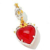 Gems en Vogue II 12mm Dyed Red Jade & Ruby Heart Drop Charm ShopNBC.com