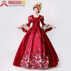 Cheap brand prom dress, Buy Quality prom dresses directly from China prom dress brands Suppliers: Brand New Red Lace Printed Marie Antoinette Dress Southern Belle Victorian Period Ball Gown Reenactment Women Prom Dress Renaissance Dresses, Medieval Dress, Prom Party Dresses, Ball Dresses, Marie Antoinette, Vestidos Vintage, Vintage Dresses, Southern Belle Dress, Masquerade Ball Gowns