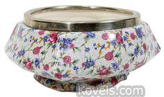 Chintz Bowl, Bone China, Silver Plate, Royal Winton Old Cottage
