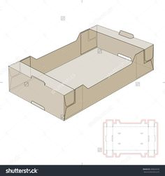 Slim Retail Cardboard Tray Box With Die Cut Template Stock Vector Illustration 400664530 : Shutterstock